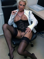 Leggy Lana strips in the office for some private playtime