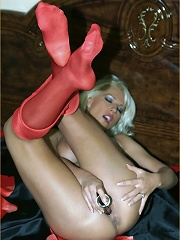 Leggy Lana in silk tights does a webcam session