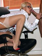 Leggy Lana has some fun sucking the computer repair mans cock dry