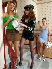 Hot thief strap-on fucking chicks through sheer pantyhose savoring lez orgy