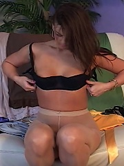 Lusty Mia Presley shows off her curvy moves and every favorite nylon outfit