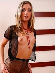 Naked slim pantyhose model with cute perky titties