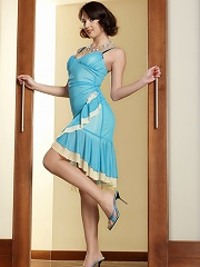 Stacy is a hottie in her little blue dress. But when it comes off shes a true ball draining cum guzzling slut.