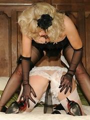 Lesbo panty and nylon play