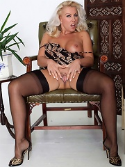Lana has a lot of fun with her monster dildo
