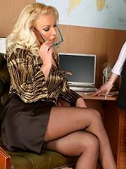 Sexy blonde slut Lana fucks her lesbian assistant
