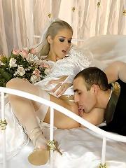 Blonde Brenda in her wedding gown fucking in her stockings