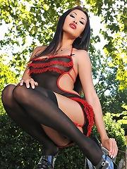 Exotic Danika soloing outdoors