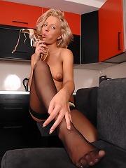 Blonde babe Ellen soloing