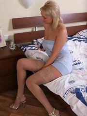 Juicy blonde in mind-blowing stockings strip set